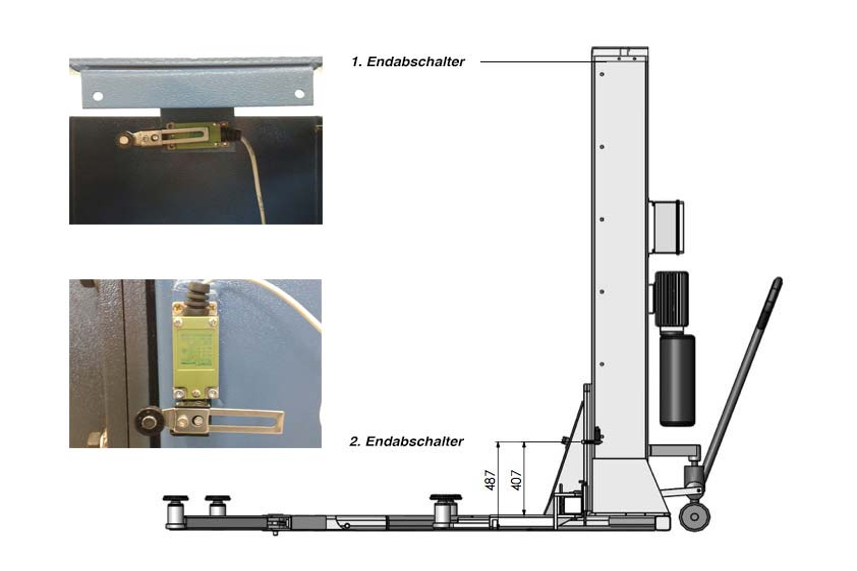 Zeigt die Position des zweiten End-Abschalters der Krömer 1-Säulen Hebebühne